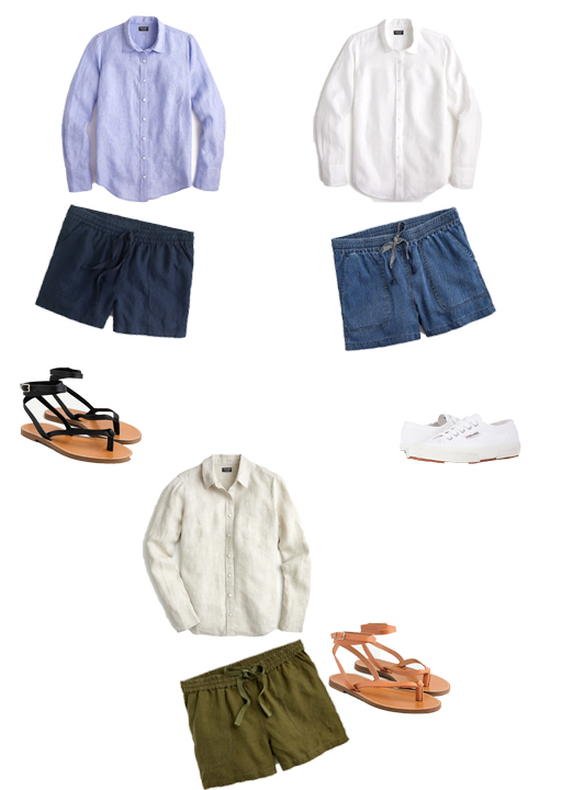 linen shirts, shorts, sandals, and Supergas.
