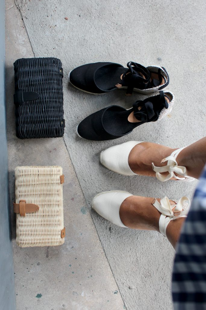 J.Crew rattan clutches, Castañer Carina espadrilles, and Brooks Brothers gingham skirt.