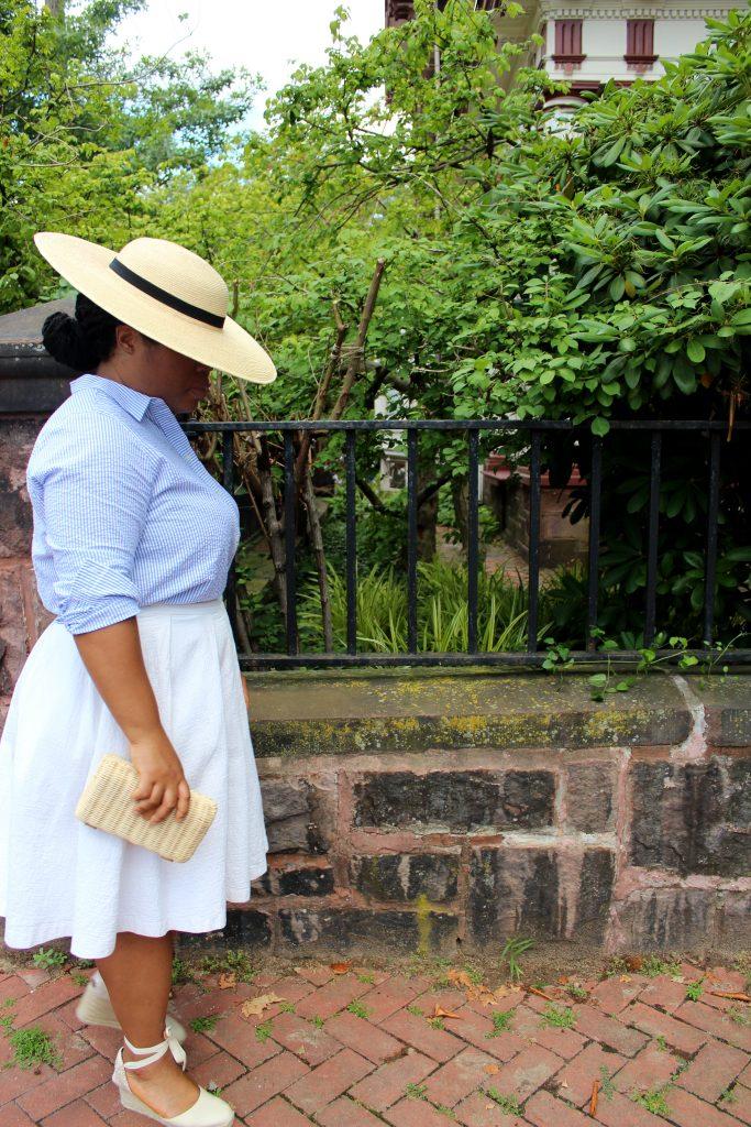 Sunhat by Sunbody Hats, J.Crew seersucker shirt, Hobbs skirt, and Castañer Carina espadrilles.
