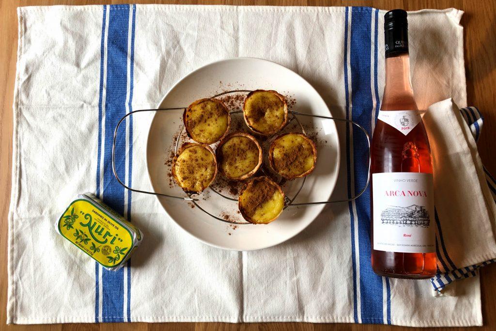 Nuri sardines, Arca Nova Rose Vinho Verde, Pastel de Nata, and Trader Joe's Tunisian fouta towel.