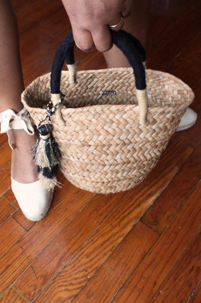 Kayu mini Behati tassel straw tote and Castañer Carina espadrilles.