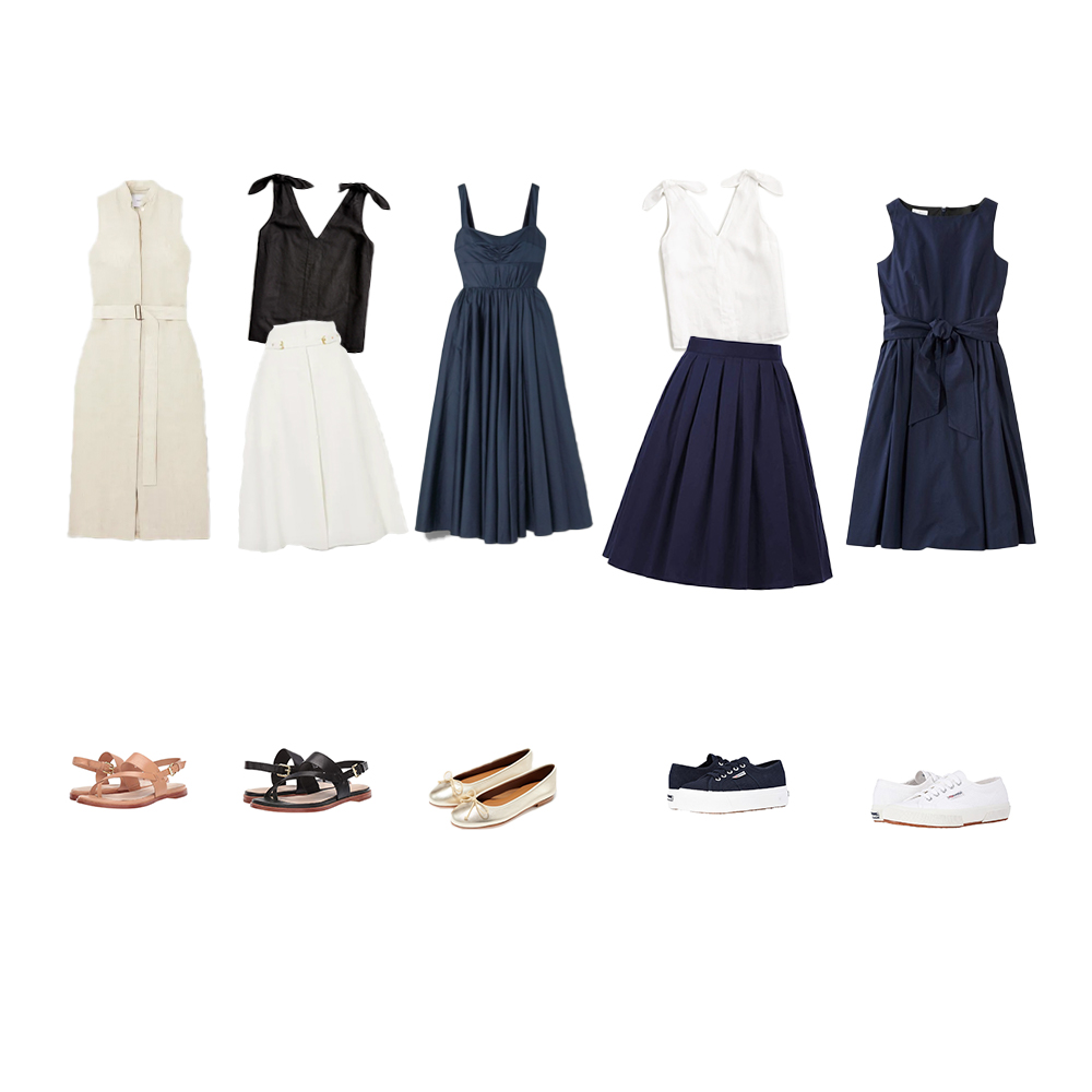 Dresses, skirts, tank tops, Superga sneakers, Margaux ballet flats, and Cole Haan Anica sandal.