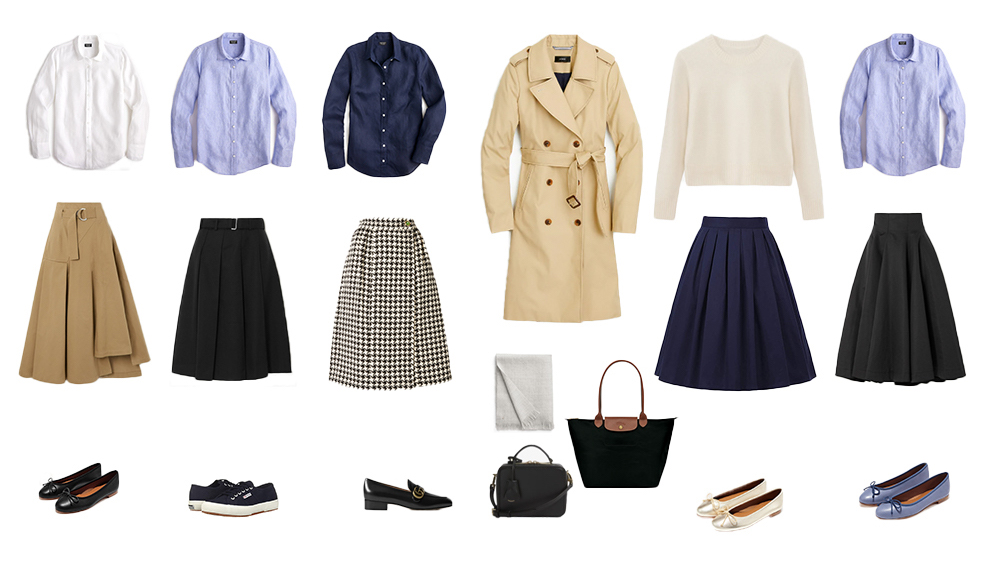 Button-ups, A-line skirts, ballet flats, Superga sneakers, Lonchamp le pliage bag, Italic Annie bag, and a cashmere scarf.