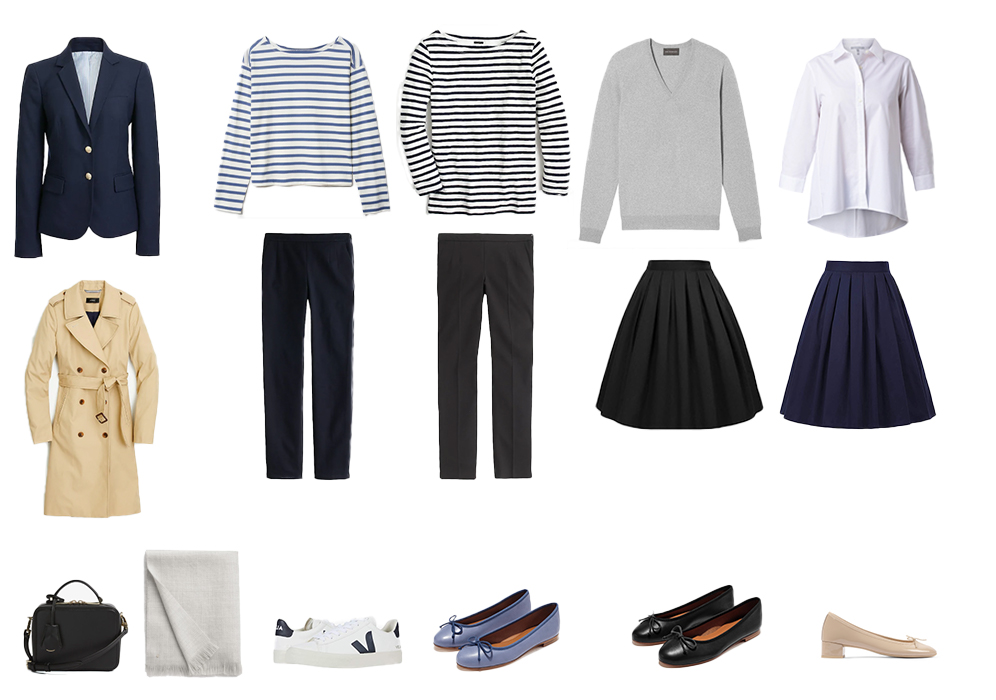 Trench coat, blazer, striped shirts, slim pants, A-line skirts, cashmere sweater, button-up, ballet flats, Veja Sneakers, boxy leather bag, and a cashmere scarf.