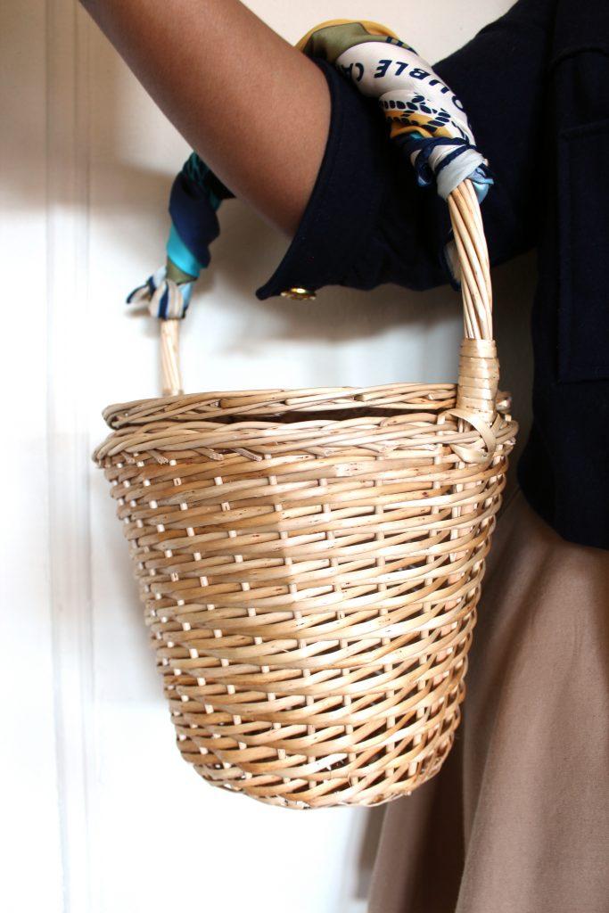 AlbaATN Jane Birkin basket and J.Crew Ratti print scarf.