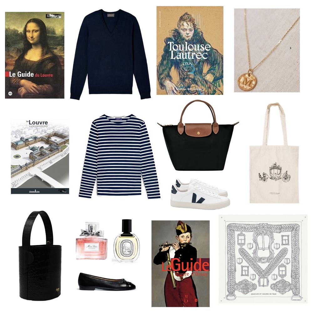 Souvenirs to buy in Paris: books, Saint James Breton shirt, Eric Bompard sweater, Louvreuse bag, Hermès scarf, Sézane necklace, Veja sneakers, Longchamp bag, Chanel ballerinas