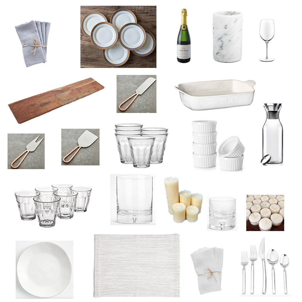 Dinnerware, placemats, silverware, Duralex cups, linen napkins, beeswax candles, cheese board, cheese knives, carafe.