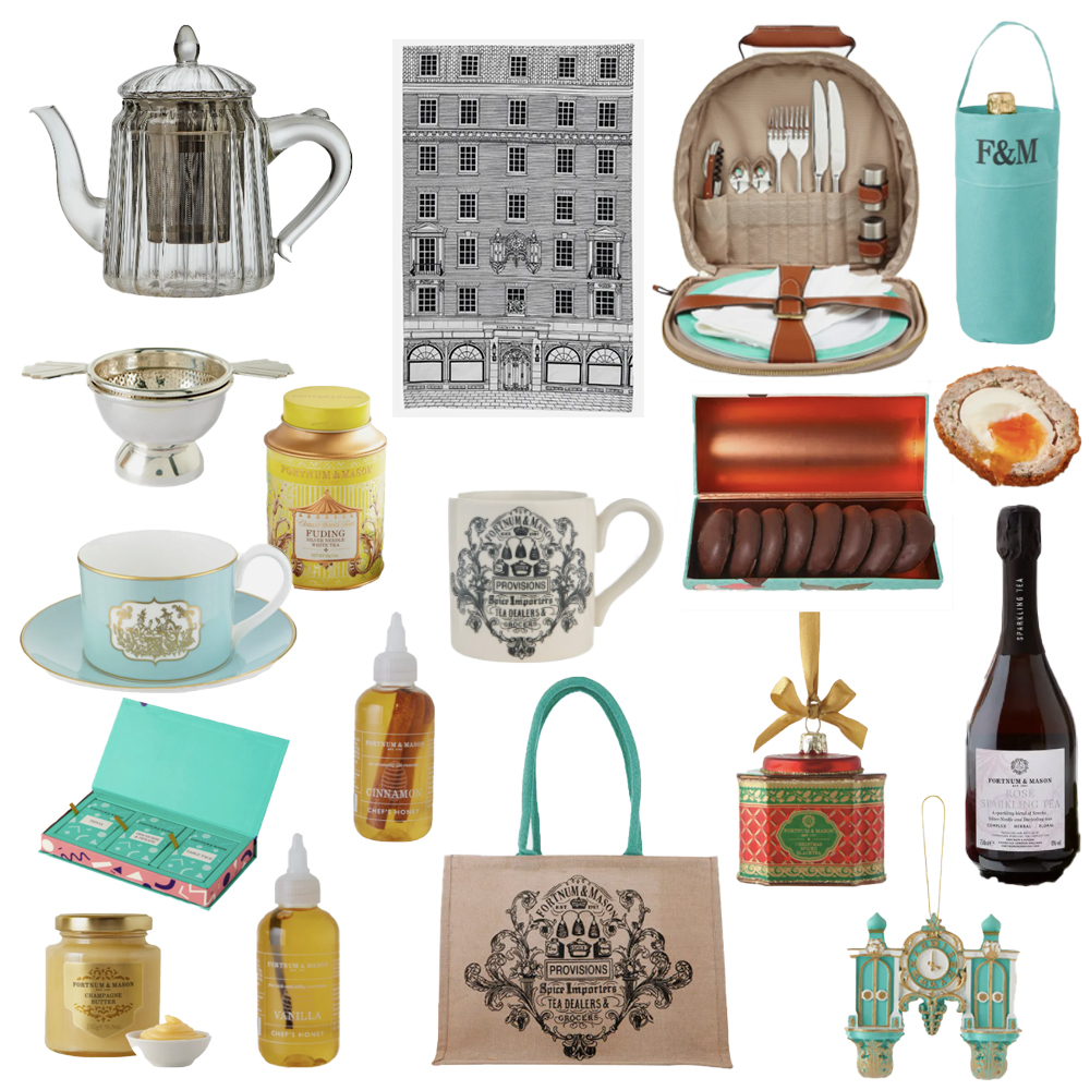 A selection of items from Fortnum and Mason: tea towel, wine bottle holder, picnic carry all, teapot, tea strainer, teacup, white tea, mug, biscuits, Scotch egg, ornament, sparkling tea, honey