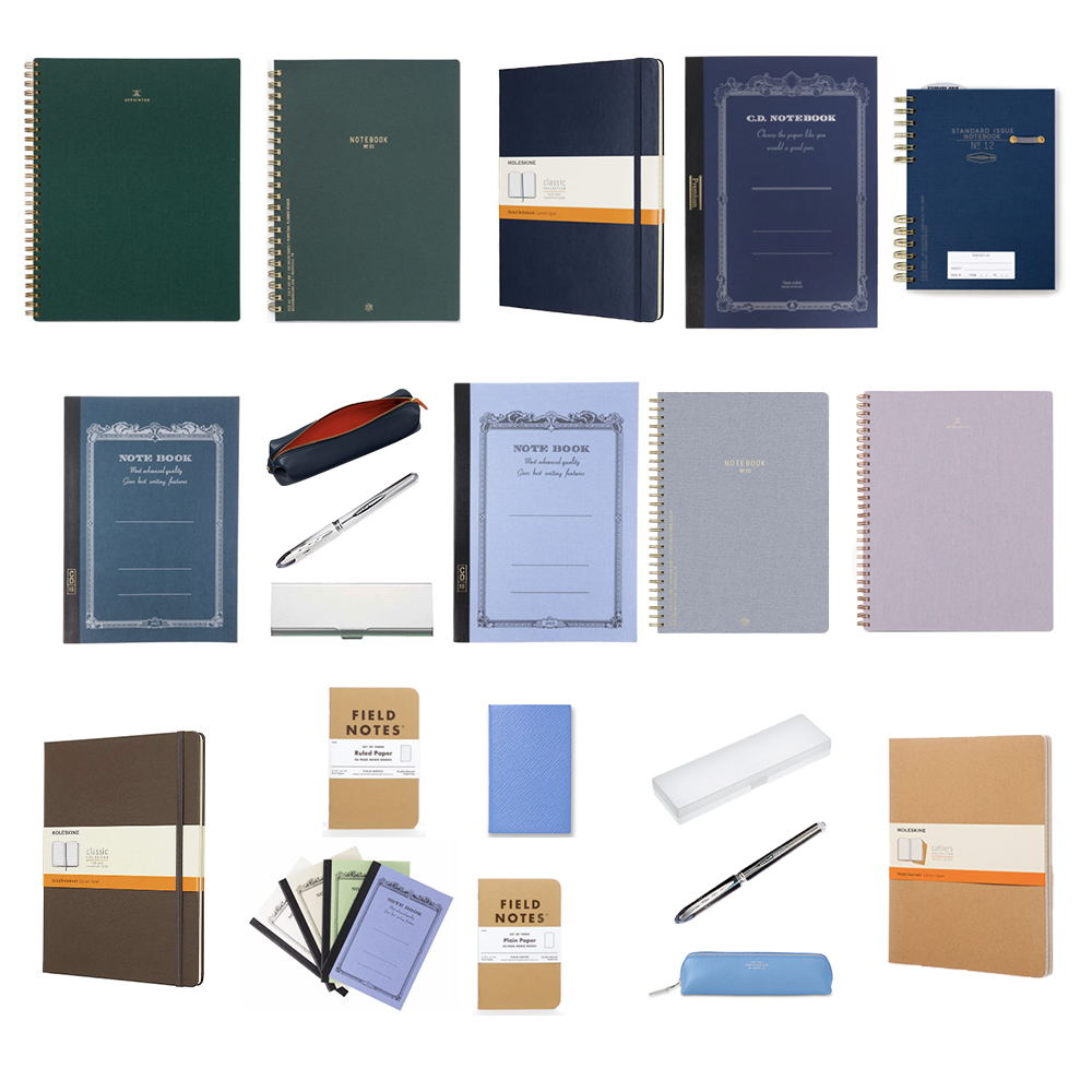 A selection of notebooks from Appointed, Designworks Ink, Moleskine, Apica, Fieldnotes, and Smythson. Writing accessories.
