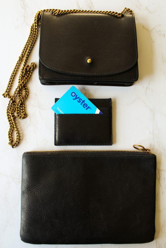 Madewell chain crossbody bag, Madewell card case, Madewell pouch.