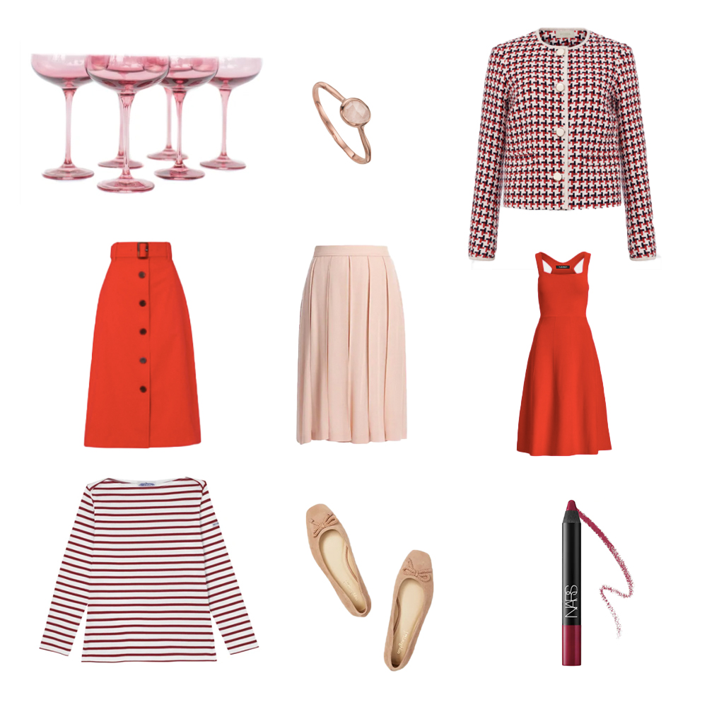 Pink and red items: skirts, champagne coupes, ring, lipstick, Breton shirt, ballet flats. dress, tweed jacket.