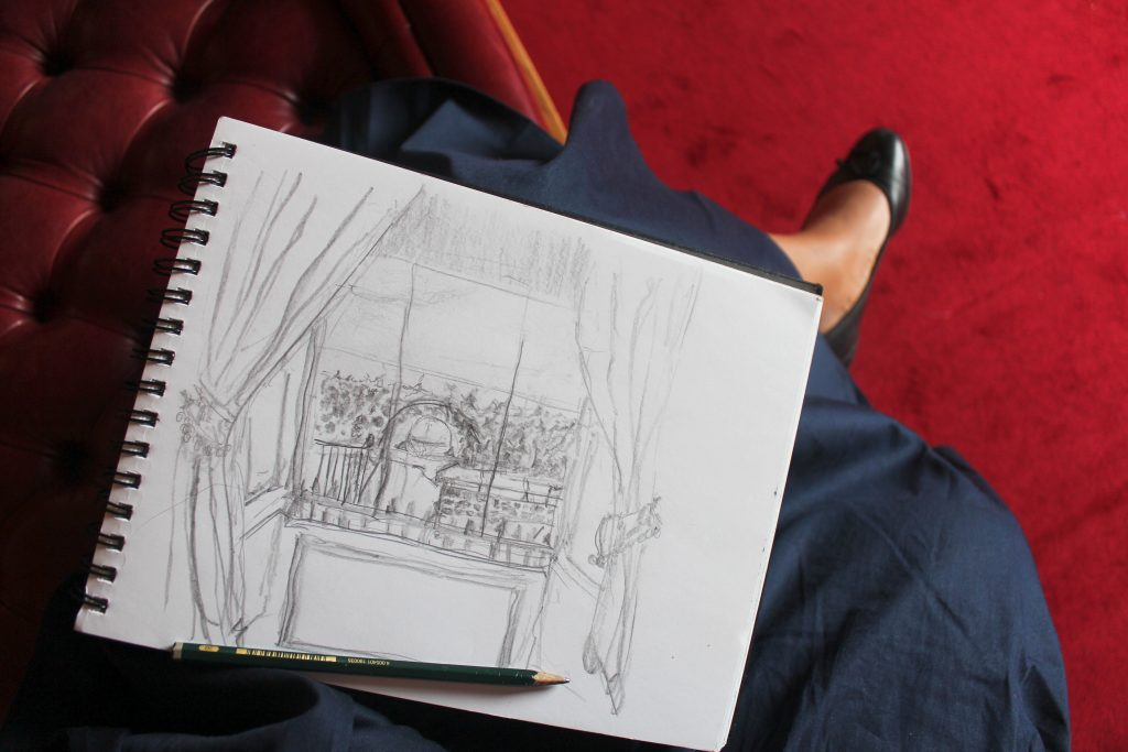 A sketch of Kensington Palace gardens. Navy ASOS skirt and black ballet flats by Blue Velvet Shoes.
