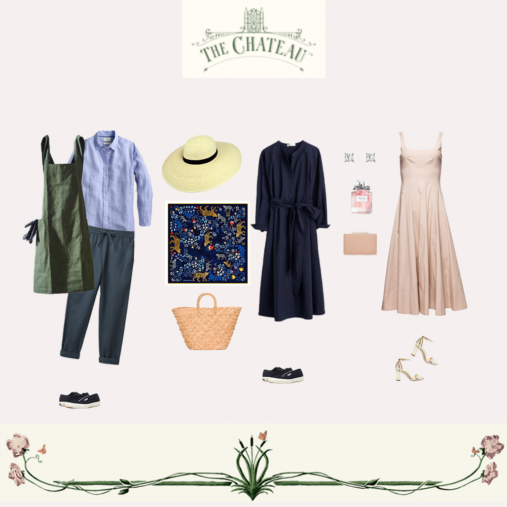 Outfits inspired by Channel 4's Escape to the Chateau. Two dresses and gardening clothes for your visit to Château de la Motte-Husson.