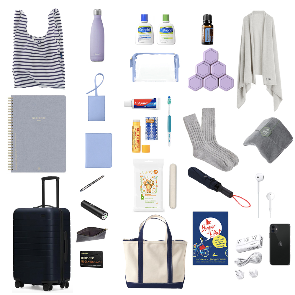 Travel essentials: AWAY carryon, L.L.Bean boat and tote, notebook, BAGGU, Cetaphil, peppermint essential oil, London Undercover umbrella, S'well bottle, Apple iPhone and EarPods, Cadence capsules, Stoney Clover Lane luggage tag and passport cover, J.Crew scarf.