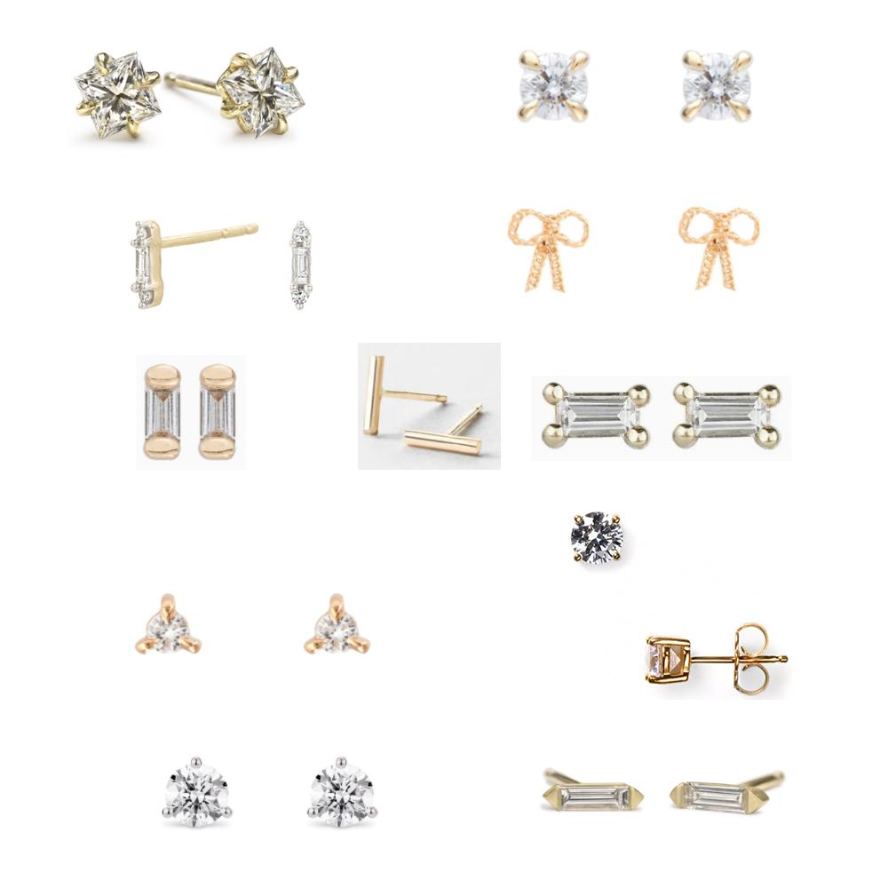 Stud earrings by ILA, Catbird, Adina Reyter, Jennie kwon, GLDN, Crislu, and Lightbox.