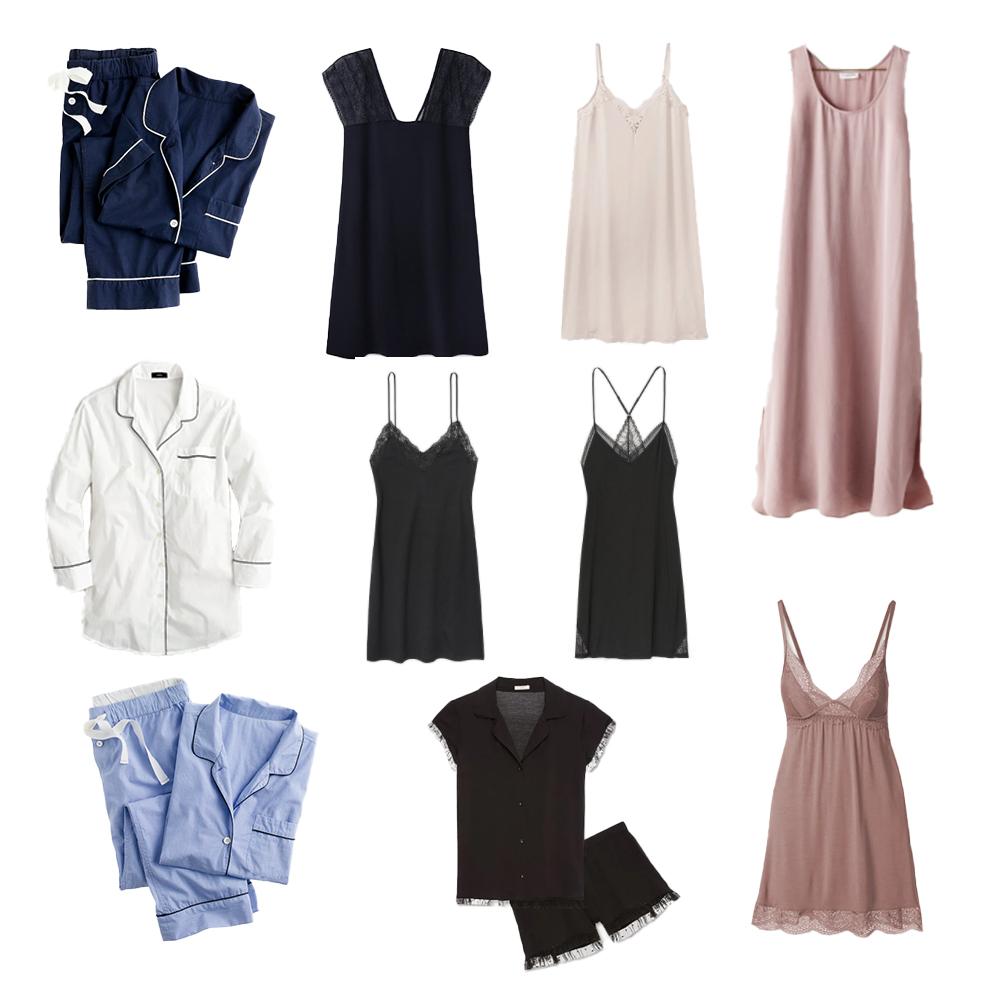 Sleepwear: pajama set, slip, chemise, nightgown, night dress, and sleep dress.