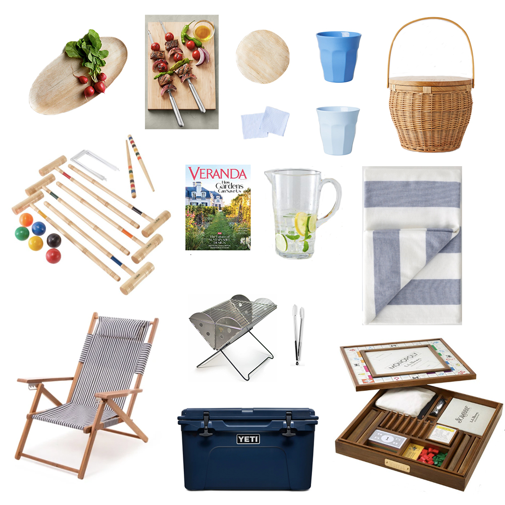 Items suitable for a life in the country: grill, beach chair, cooler, games, beach towel, magazine, outdoor plates and cups.
