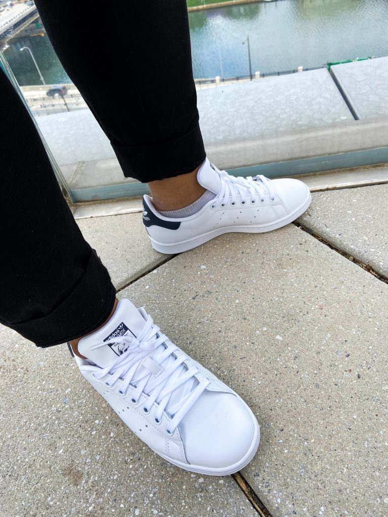 White and navy Adidas Stan Smith sneakers