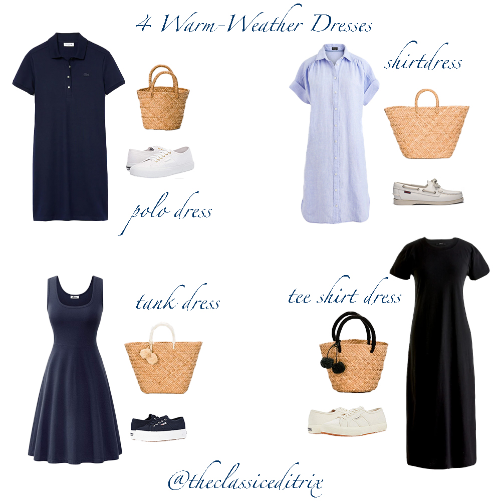 4 dresses: polo dress, shirtdress, tank dress, tee shirt dress.