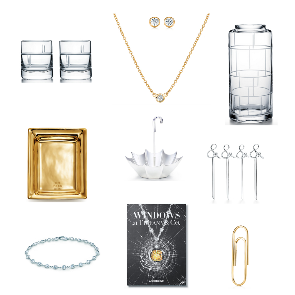 Jewelry, homeware items, and a book from Tiffany & Co.