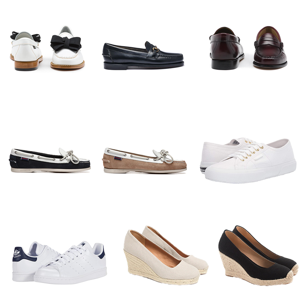Footwear for Spring: loafers, boat shoes, Superga, adidas Stan Smith, and espadrilles.