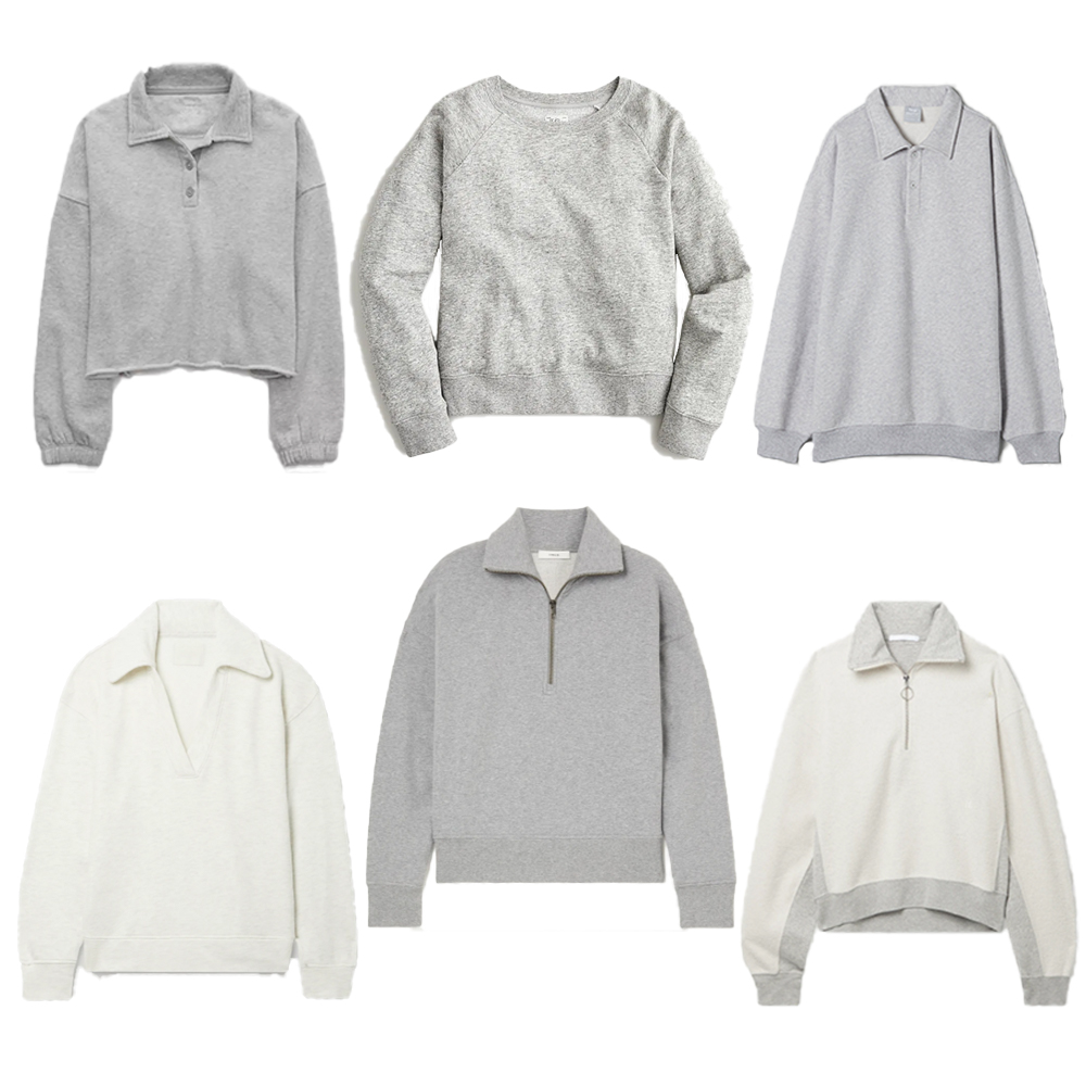 A selection of sweatshirts from Aerie, Citizens of Humanity, Aritzia, J.Crew, Vince, and Helmut Lang.