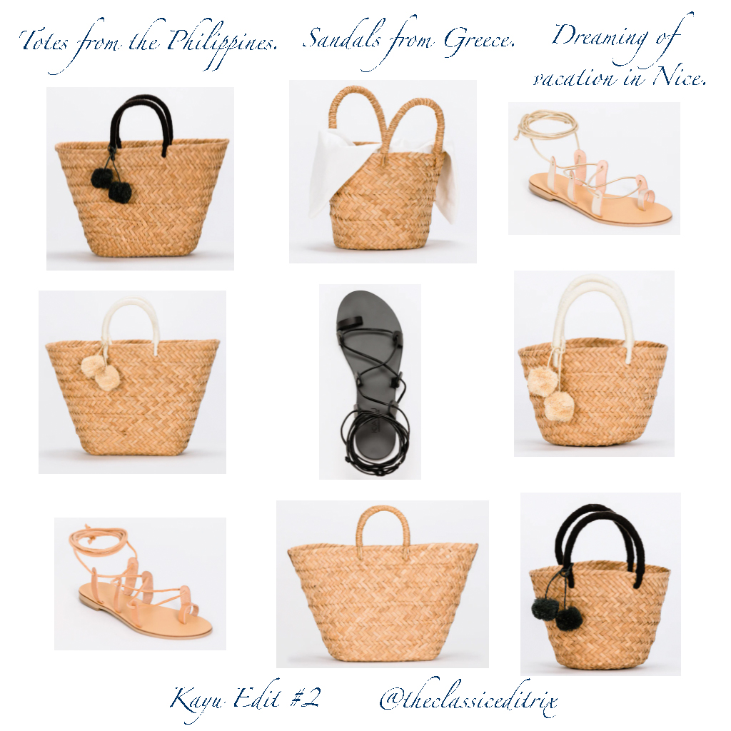 straw totes and sandals